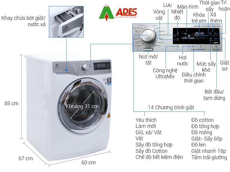 Cau tao may giat say Electrolux Inverter 10 kg EWW14023